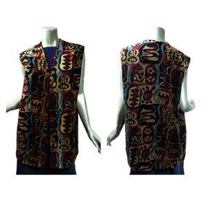 Vintage Tribal Pattern Tapestry Duster Vest Tall